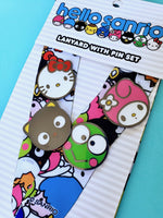 Loungefly Hello Sanrio Lanyard closeup 4 pins (Hello Kitty, Chococat, My Melody, Keroppi)
