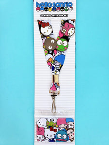 Loungefly Hello Sanrio all over print lanyard with badge/ID holder and 4 character pins