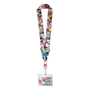 Loungefly Hello Sanrio Lanyard with 4 pins full view