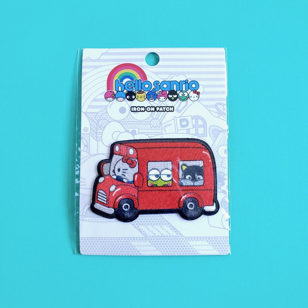 Loungefly Hello Sanrio Red Bus Iron-on Patch front