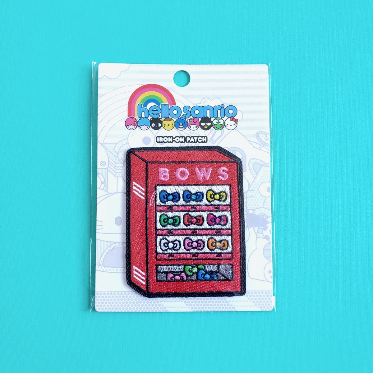 Loungefly Hello Sanrio Bows Vending Machine iron-on patch front