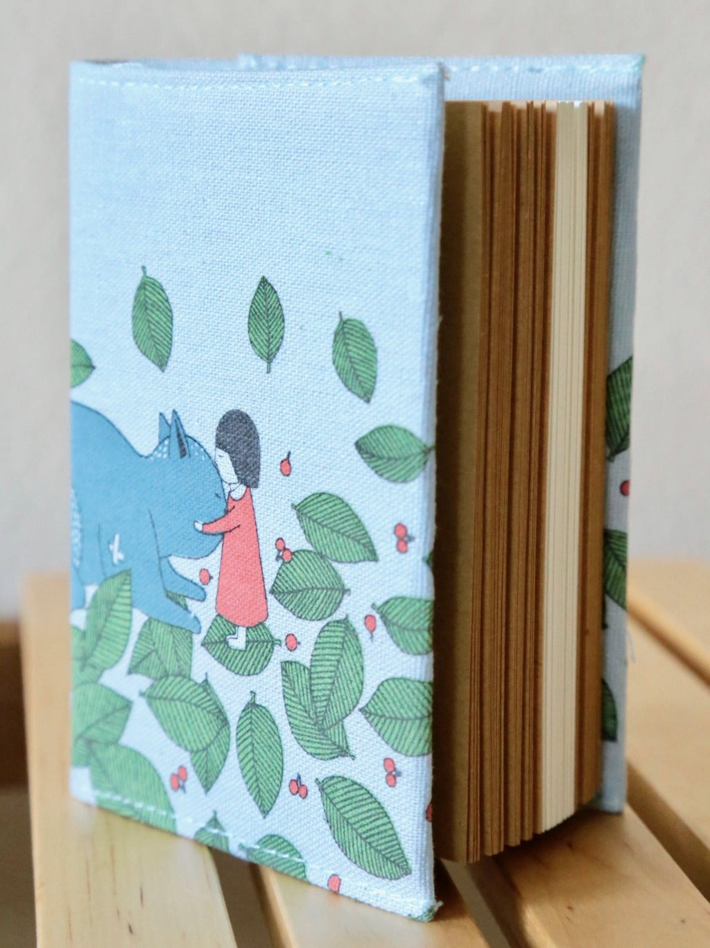 Great Friend Light Blue Fabric Journal angled view