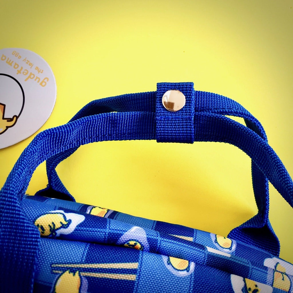 Loungefly Sanrio Gudetama Chopsticks Lazy Egg AOP Nylon Backpack double handle on top with snap button