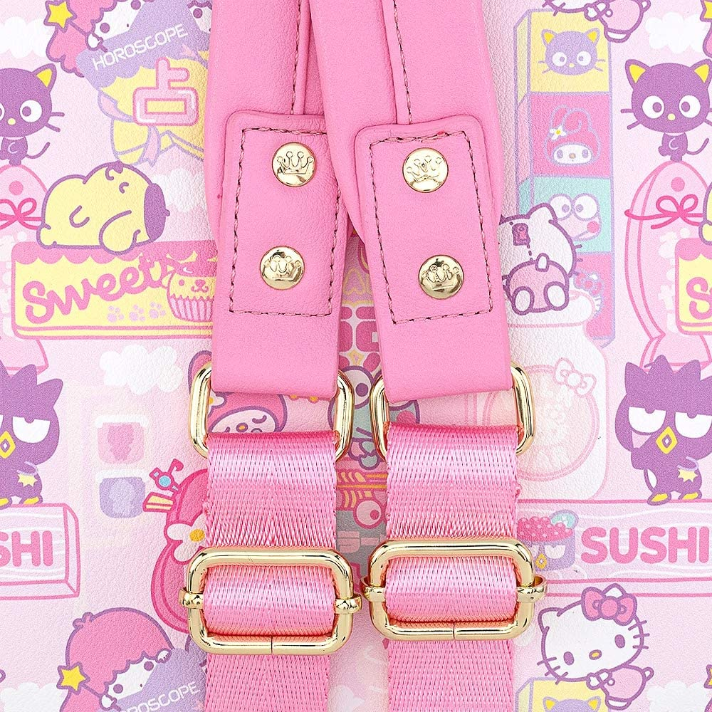 Loungefly Hello Kitty & Friends Kawaii AOP Mini Backpack straps