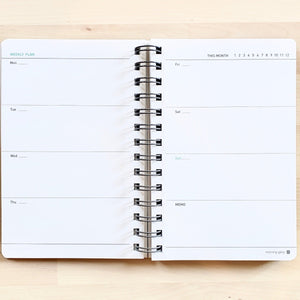 Morning Glory spiral bound hardcover scheduler weekly planning pages