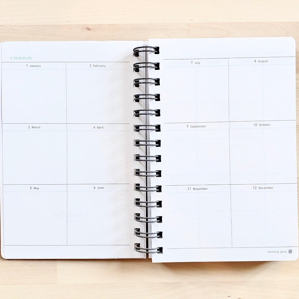 Morning Glory spiral bound hardcover scheduler year planning pages