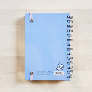 Morning Glory spiral bound hardcover scheduler back blue cover small dog in bottom right corner