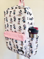 Loungefly Disney Minnie Mickey Backpack Front View closeup showing stainless steel cup in drink holder