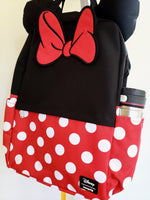 Loungefly Disney Minnie Mouse backpack front view with 2 side drink pockets