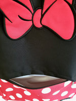 Loungefly Disney Minnie Mouse backpack closeup of striped interior front pocket