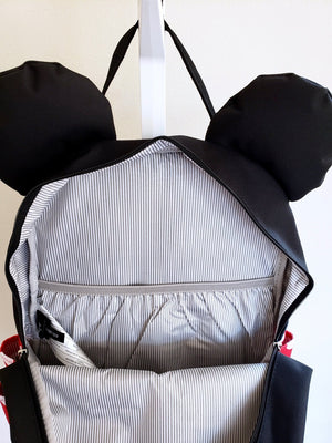 Loungefly Disney Minnie Mouse backpack large pocket interior view with laptop/tablet sleeve inside
