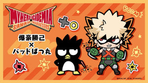My Hero Academia x Sanrio graphic illustration of Badtz-Maru and chibi Katsuki