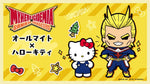 My Hero Academia x Sanrio Characters graphic illustration with Hello Kitty and chibi All Might with fists on hips super hero pose from Sanrio with Japanese characters