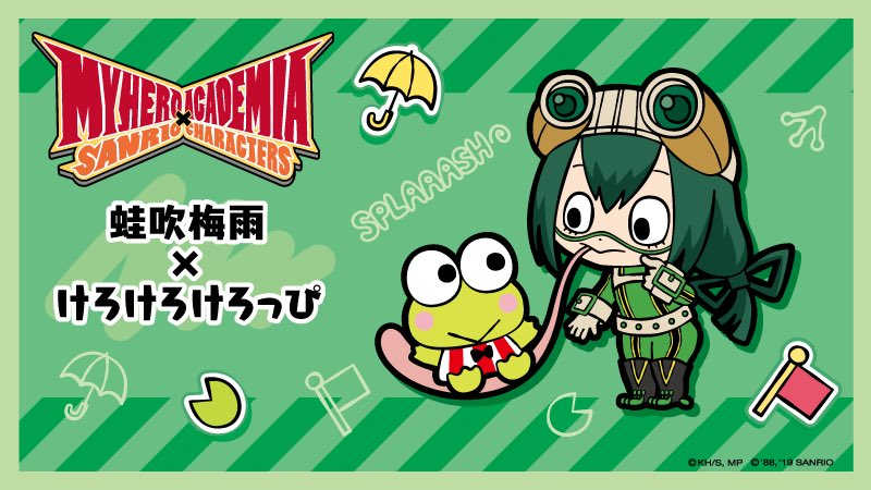 My Hero Academia x Sanrio Characters graphic illustration with chibi Tsuyu and Keroppi