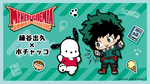 My Hero Academia x Sanrio Characters graphic illustration with Pochacco and chibi Deku