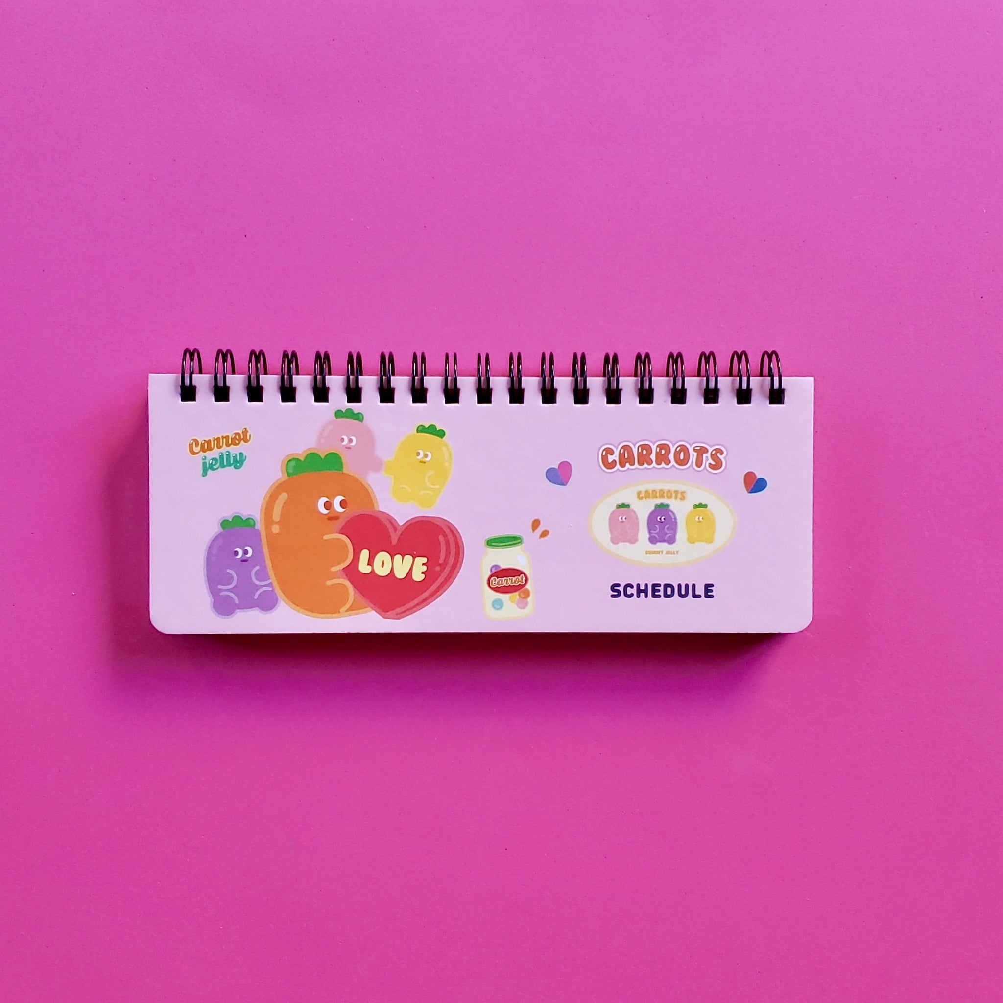korean stationery weekly scheduler pink front cover