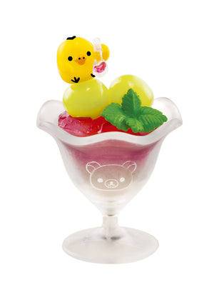 Re-Ment Korilakkuma Sweets in Dream series Kiiroitori on top of a fruit parfait