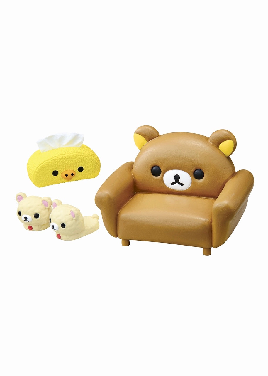 Re-Ment Rilakkuma Room Blind Box series chair, slippers, tissue