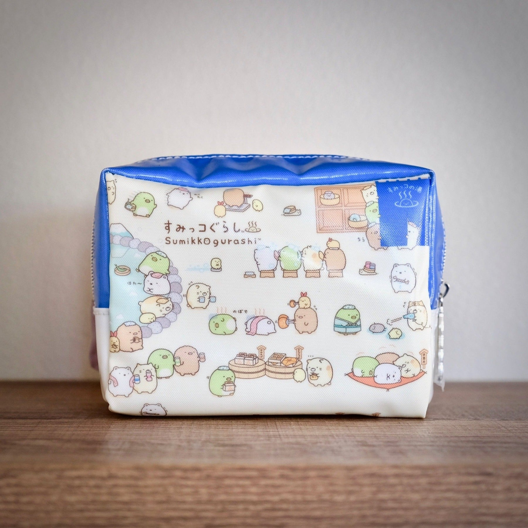 Sumikko Gurashi Hot Springs zippered pouch front view