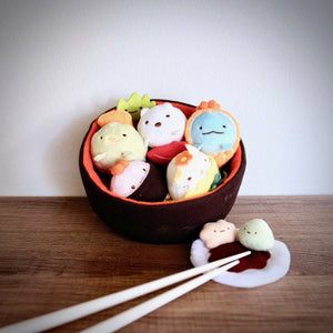 Sumikko Gurashi Sushi Bowl Plush Set with Plush Wasabi Soy Sauce