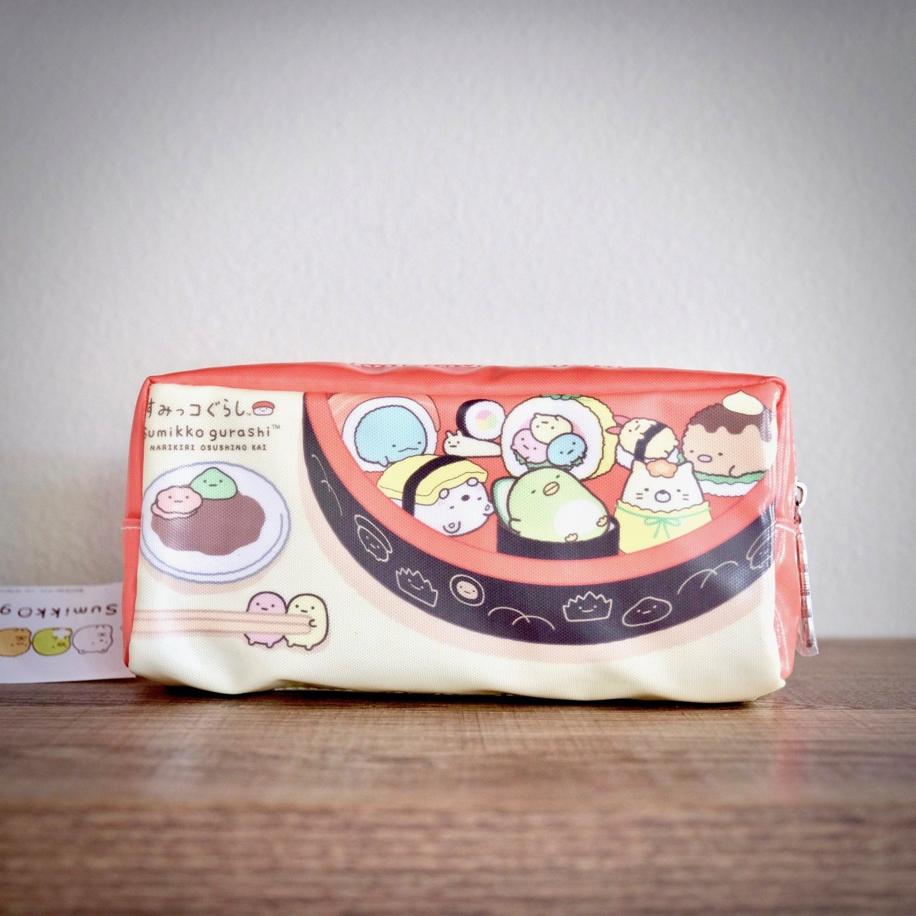 Sumikko Gurashi Sushi Bowl zippered pencil pouch front view