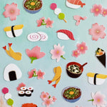 closeup of nekoni sakura & sushi stickers with silver accents