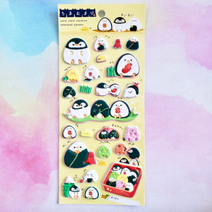 kamio japan stickers of puffy penguins sushi shaped