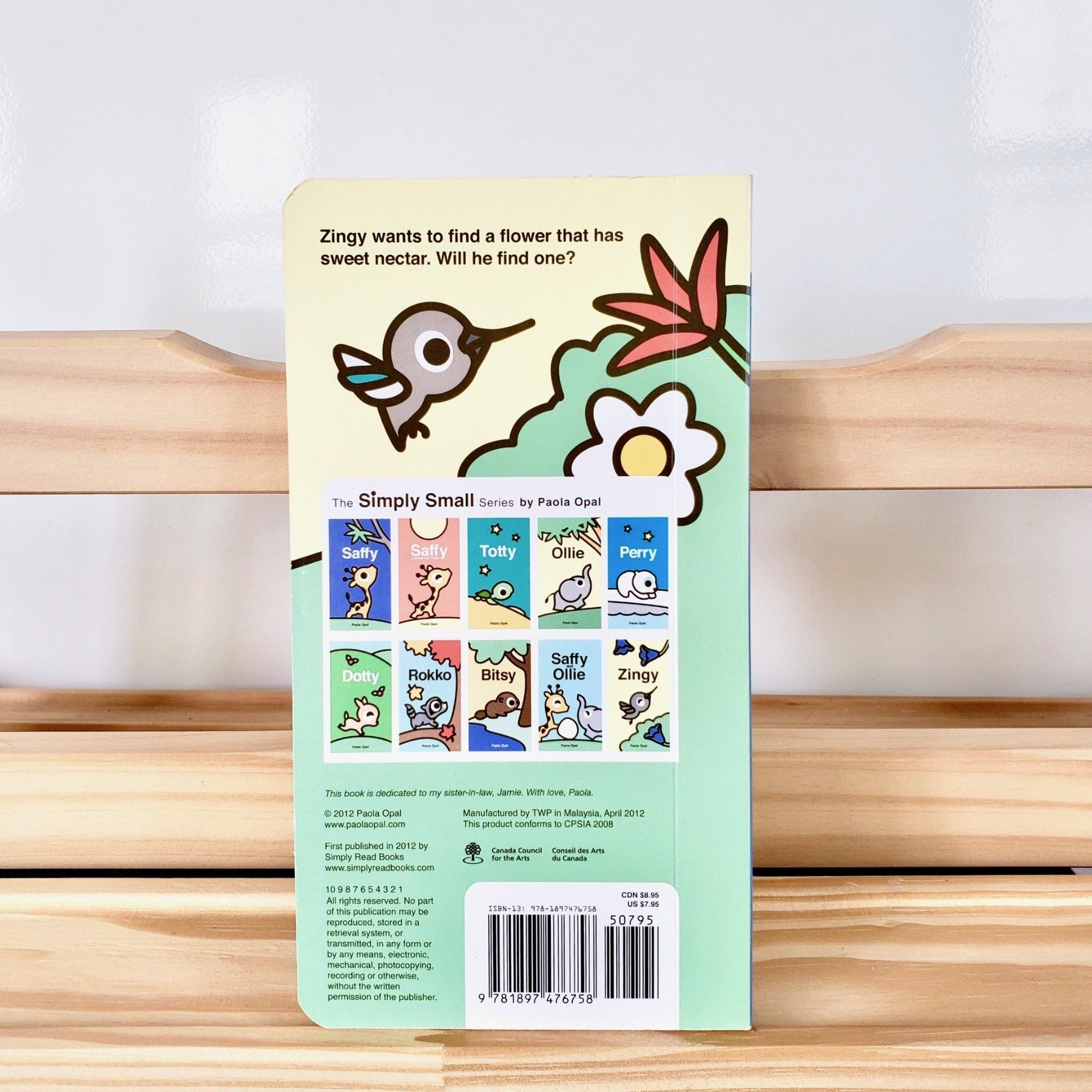 Cute Children Books | Simply Small Series by Paola Opal: Zingy back cover
