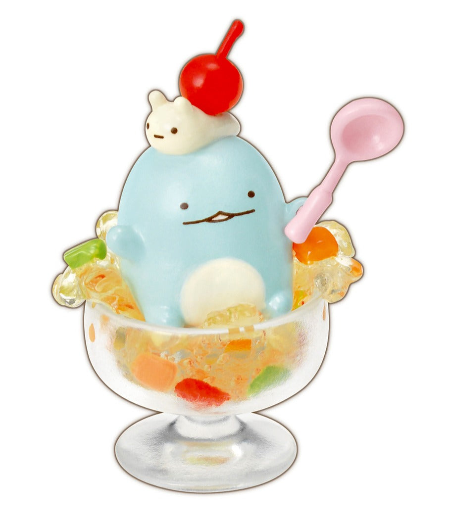 Japanese Re-Ment Sumikko Gurashi Homemade Sweets Blind Box series Tokage and Nisetsumuri inside a jelly dessert cup