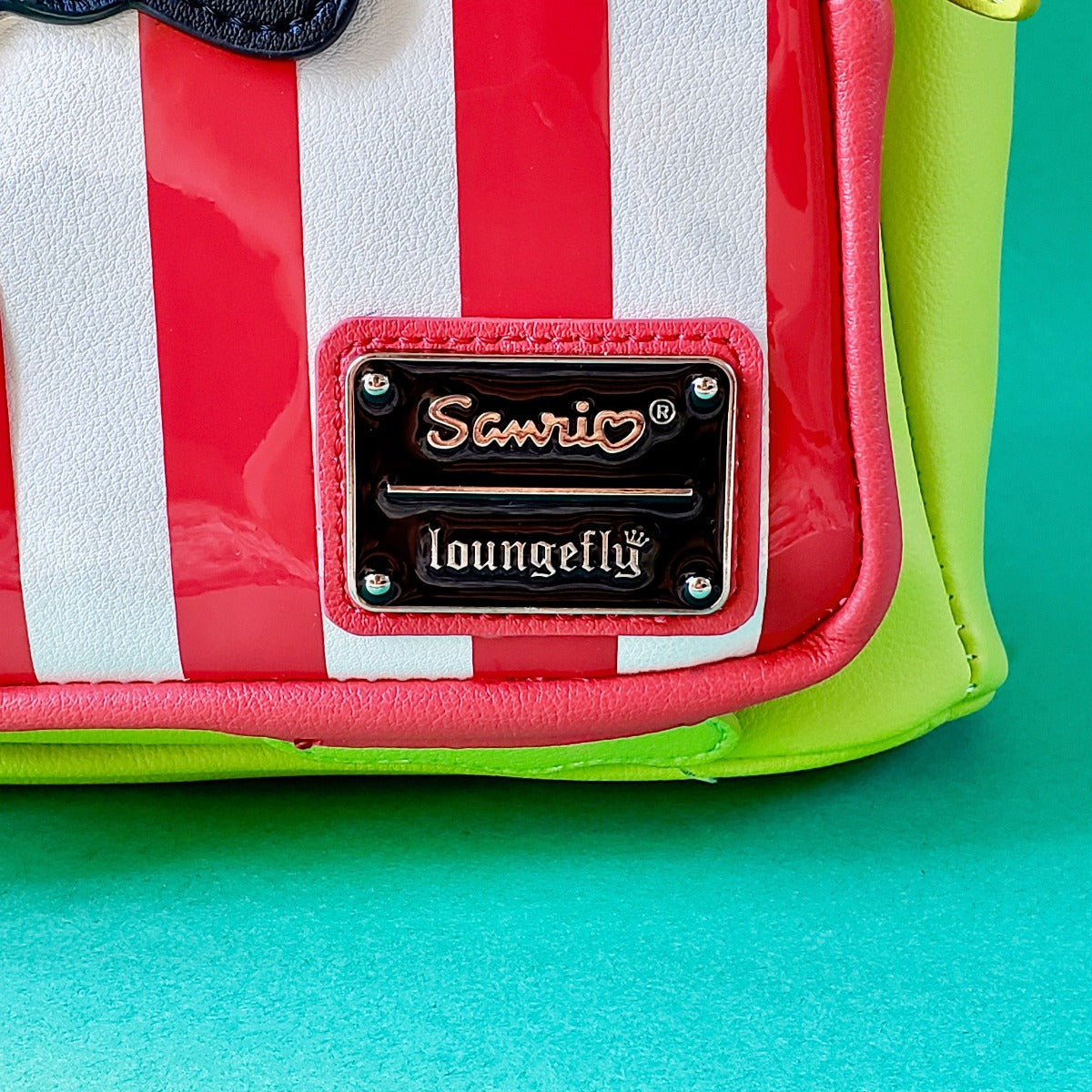 Loungefly Keroppi Mini Backpack logo closeup