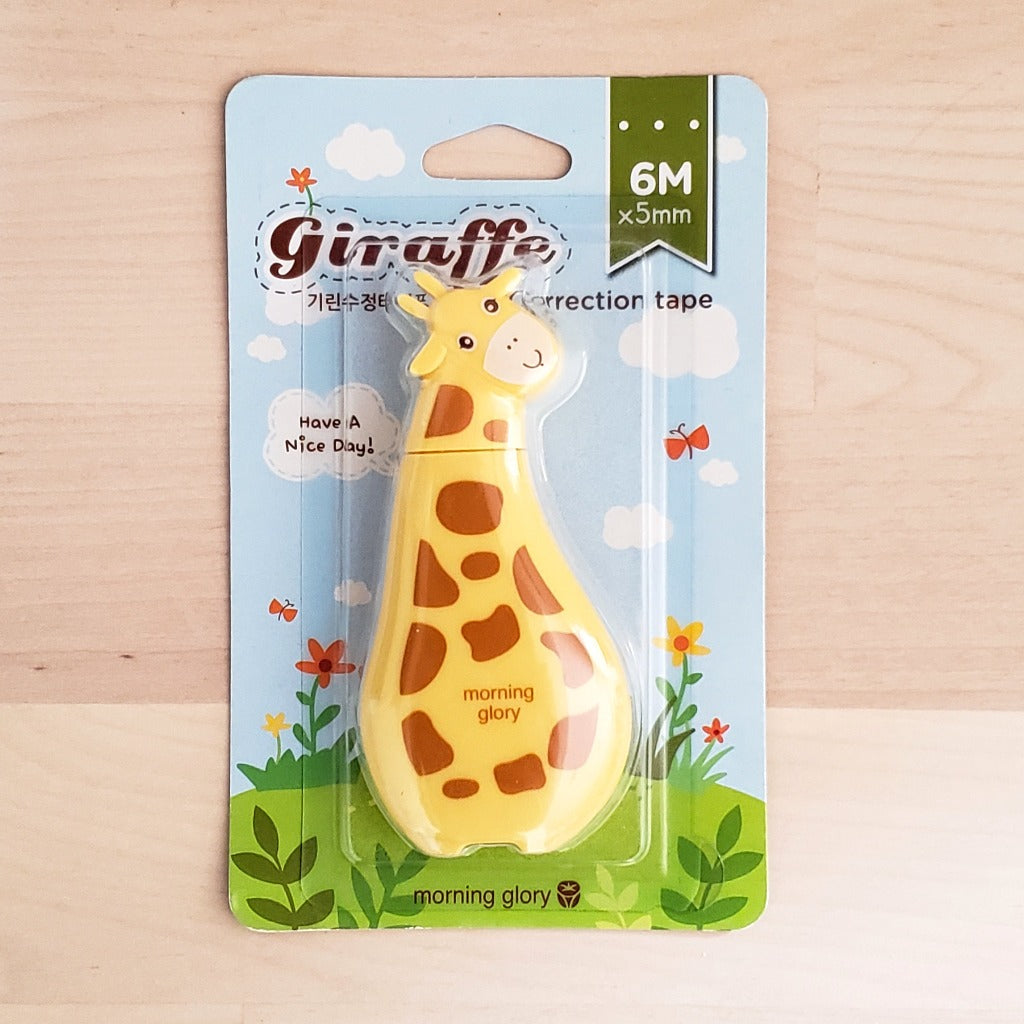 Cute Korean Stationery Morning Glory Kawaii Giraffe Correction Tape (Yellow With Brown Spots)