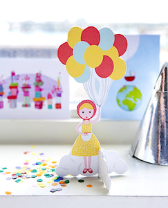 cute greeting cards studio ROOF cute pop out card balloon girl Dutch/Netherlands
