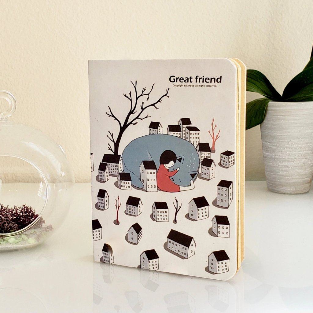 Cute Journals | Great Friend Hardbound Journal Little Houses Cover (front)