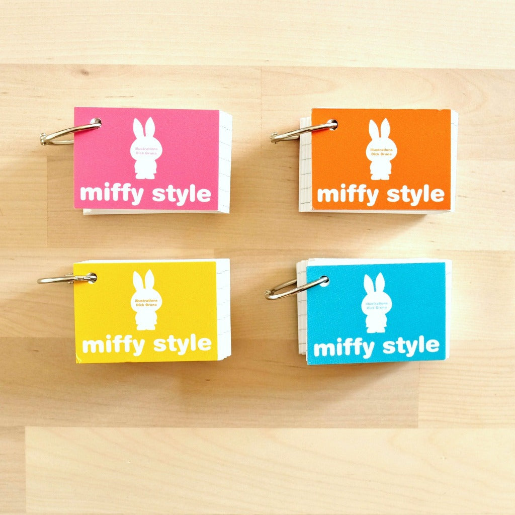 miffy index cards study cards with ring (pink, orange, yellow, blue)