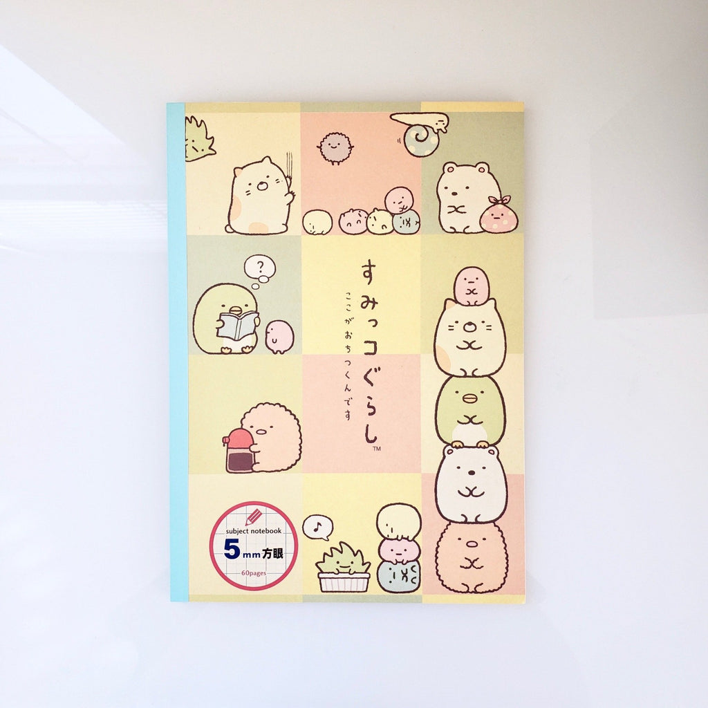 san-x sumikko gurashi 5mm graph/quad-rule notebook (front cover)
