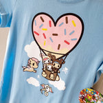 tokidoki My Balloon light blue T-shirt design closeup