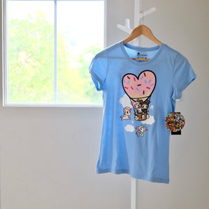tokidoki My Balloon light blue T-shirt Donutella front view