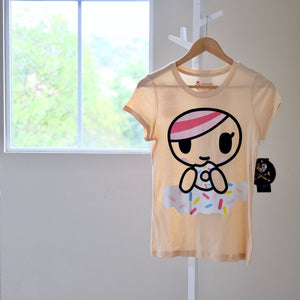tokidoki Dunking Donut t-shirt with Donutella front view