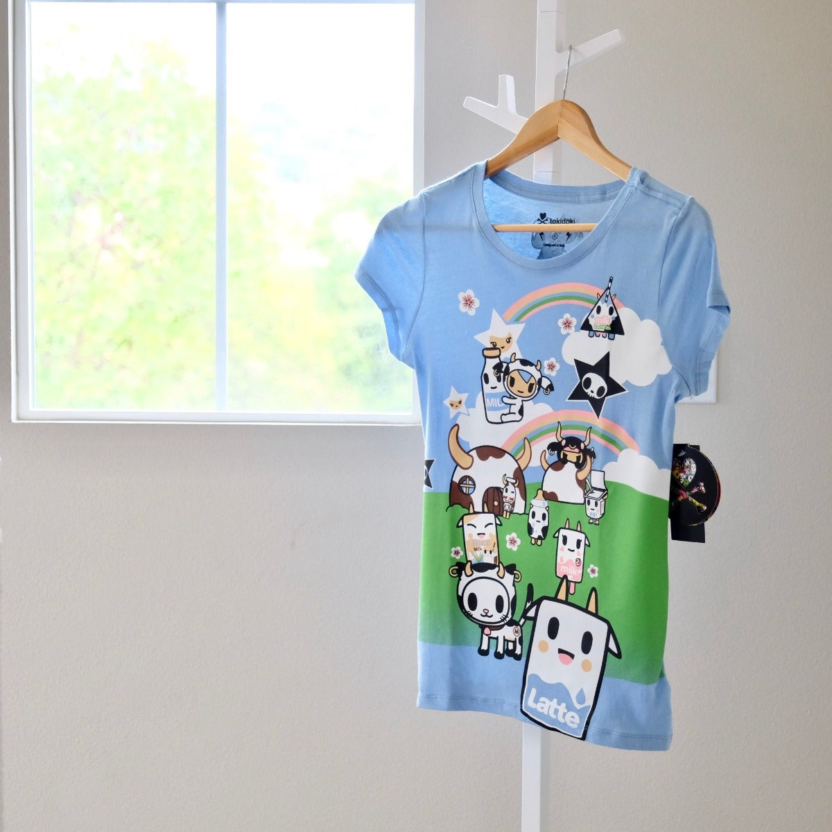 tokidoki See You Latte light blue t-shirt with Moofia front view