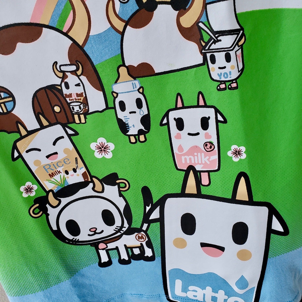tokidoki See You Latte light blue t-shirt design closeup