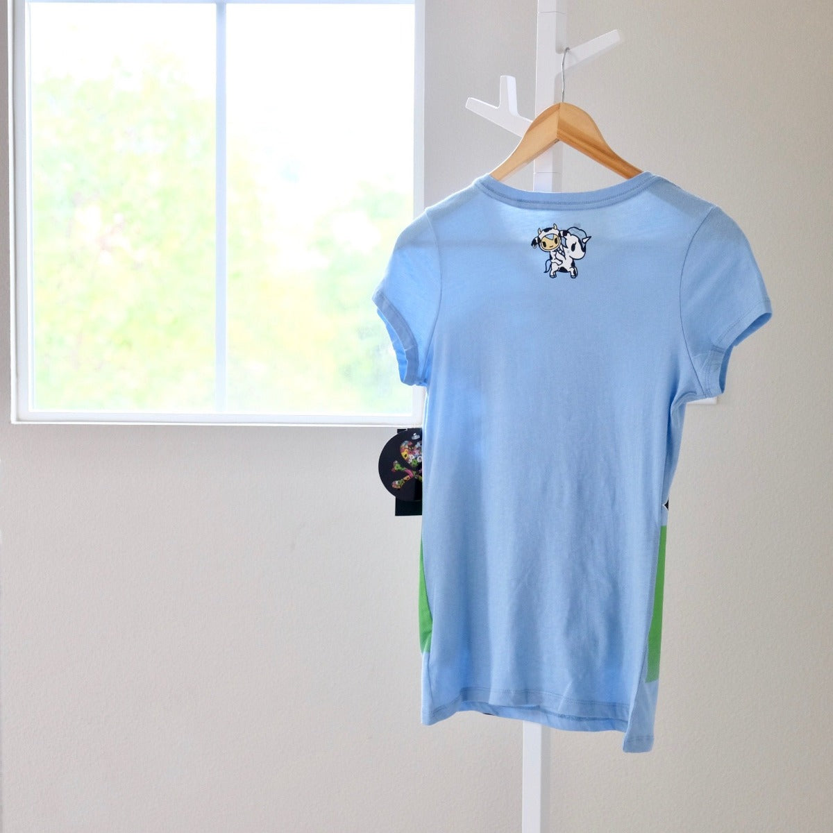 tokidoki See You Latte light blue t-shirt with Moofia back view