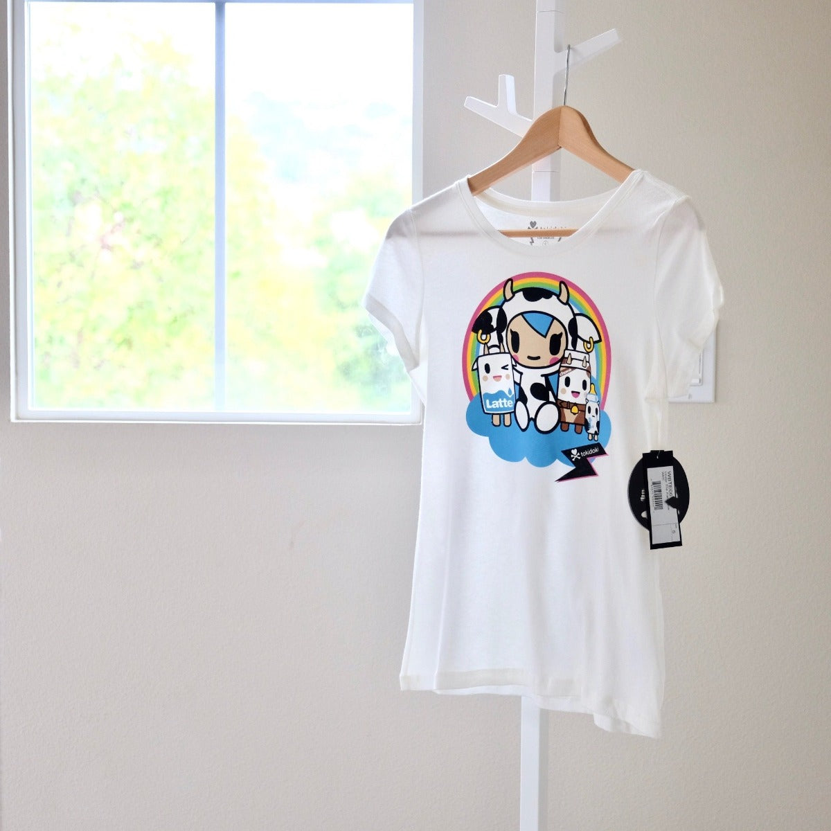 tokidoki Under the Rainbow women's t-shirt with Mozzarella front view