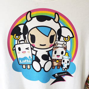 tokidoki Under the Rainbow women's t-shirt with Mozzarella closeup