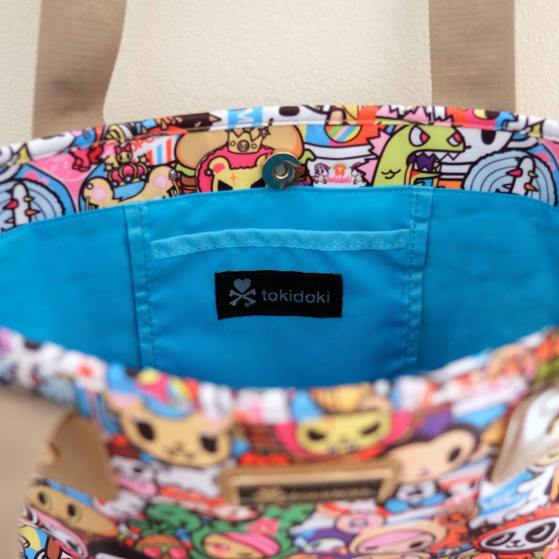tokidoki food collection shopper tote interior