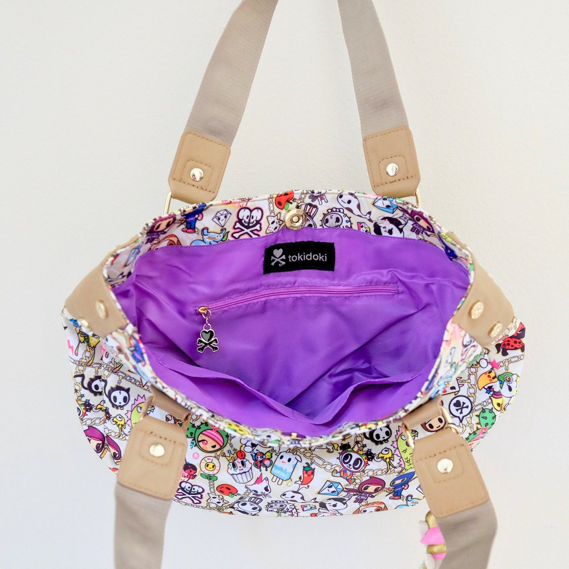 tokidoki kawaii Chained Love Hobo Bag purple interior
