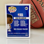 Funko POP! NBA New Orleans Pelicans Zion Williamson 62 (back of box)