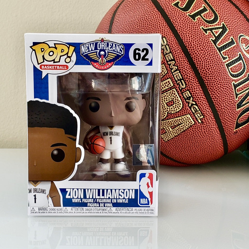 Funko POP! NBA New Orleans Pelicans Zion Williamson 62 (box front)
