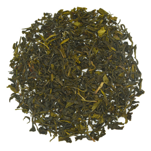 Dry leaves of Gopaldhara Estate's Darjeeling Autumn green tea.