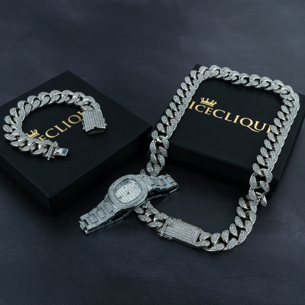 Premium 24K Cuban Chain, Cuban Bracelet & Watch Bundle