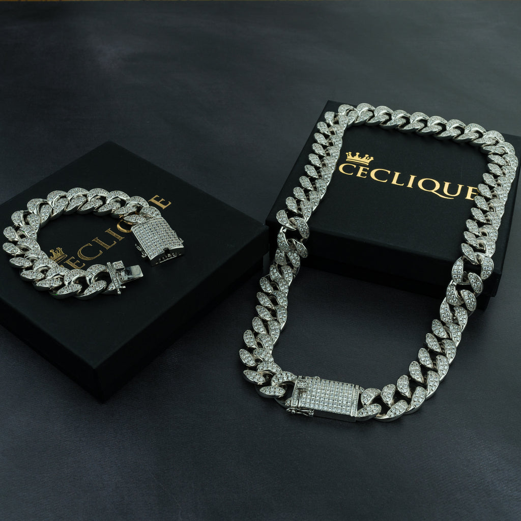 24K Cuban Chain & Cuban Bracelet Bundle - Gold/White Gold - (TODAY ONLY)